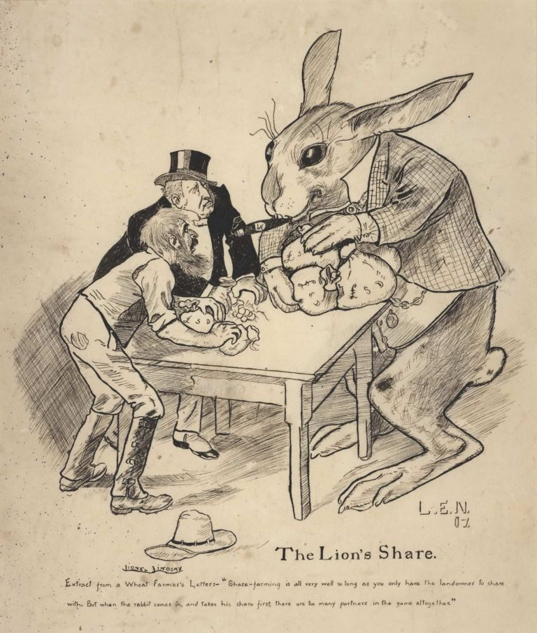 The Lion's Share [Rabbit Plague]. Lionel Lindsay, Aust.