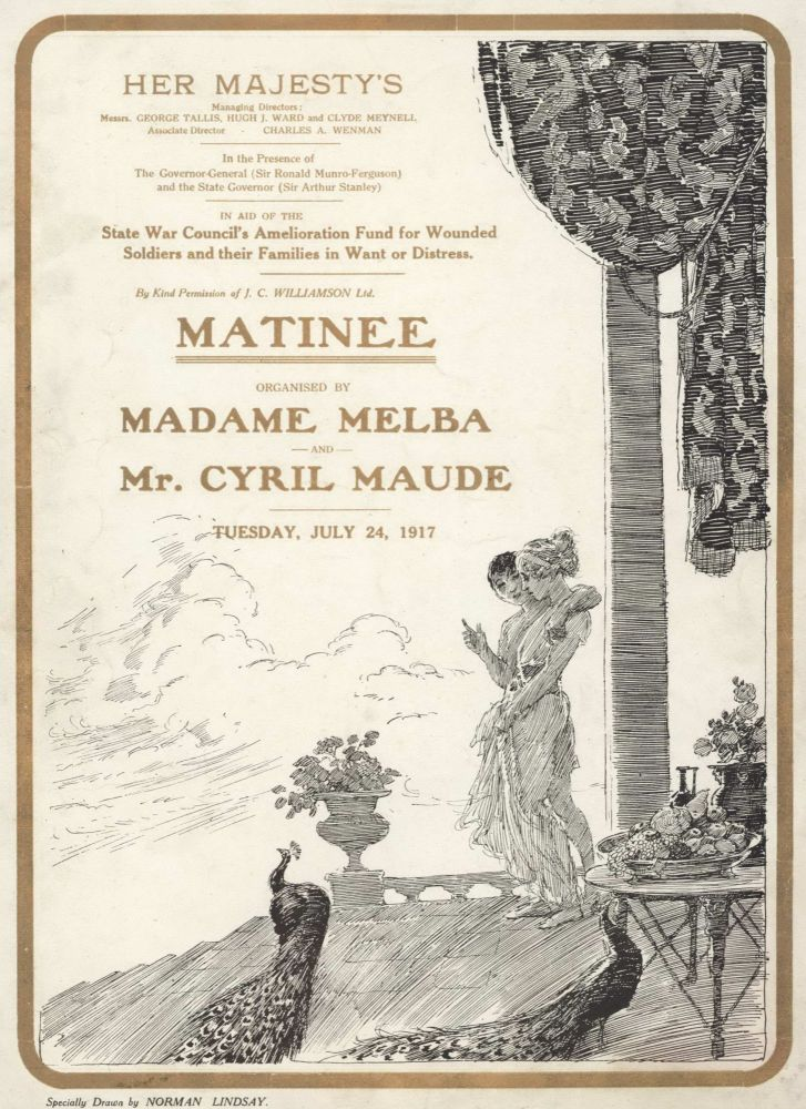 """""""Matinee"""" Organised By Madame Melba And Mr Cyril Maude. Norman Lindsay, Aust."""