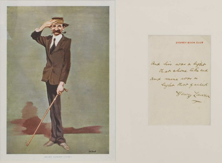 Henry Lawson. David Low, NZ/Aust./Brit.