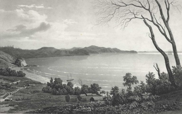 Vue De La Baie Des Iles (Bay Of Islands) and L'Anse De L'Astrolabe (Nouvelle-Zelande). After Louis Auguste de Sainson, French.