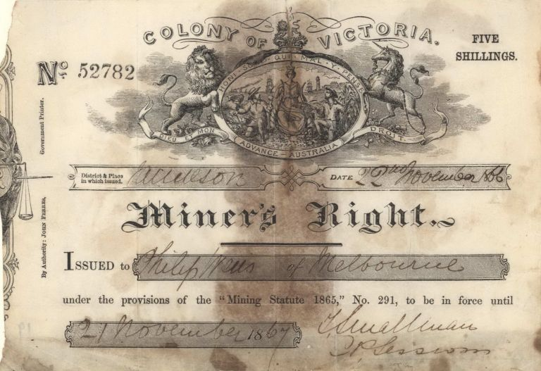 Miner's Right Issued To Philip Wells Of Melbourne [Gold-mining]. Samuel Calvert, Australian.