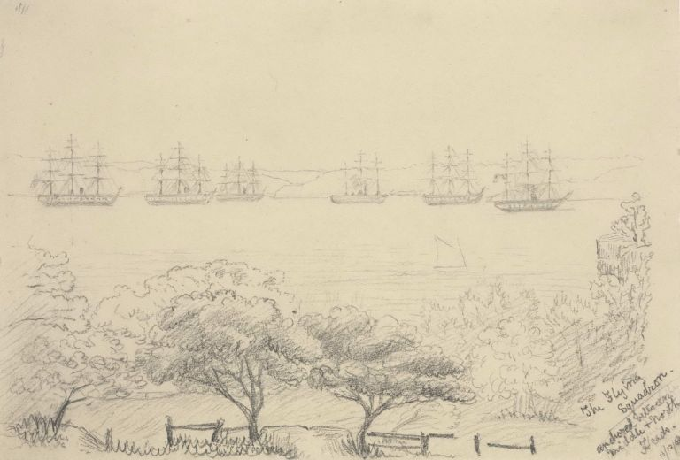 The Flying Squadron Anchored Between Middle And North Heads [Sydney Harbour]. Rosalie Ann Thorne, Aust.