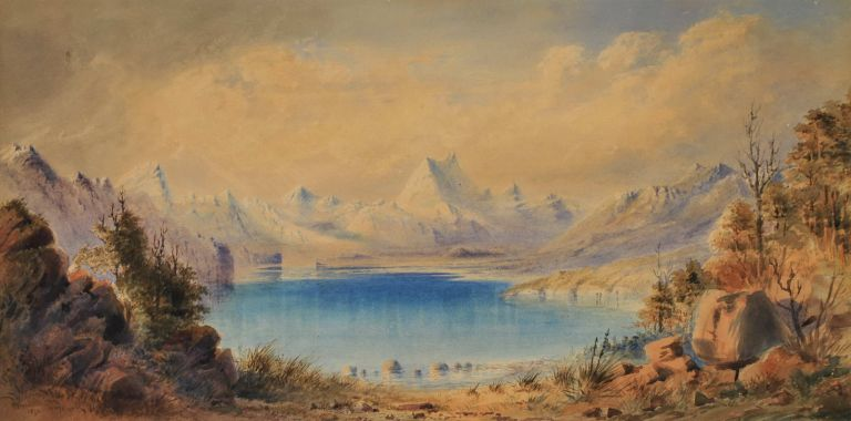 [Snow-capped Mountains Scene, South Island, New Zealand]. W H. Raworth, Brit./Aust./NZ.