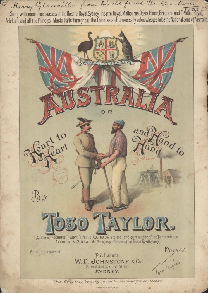 'Australia, Or Heart To Heart And Hand To Hand'. Rev. Thomas Hilhouse Taylor, Toso, Aust.
