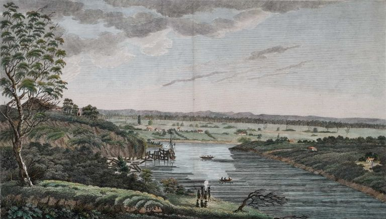 A View Of Hawkesbury And The Blue Mountains, New South Wales. After Captain James Wallis, Walter Preston, Irish, Aust.