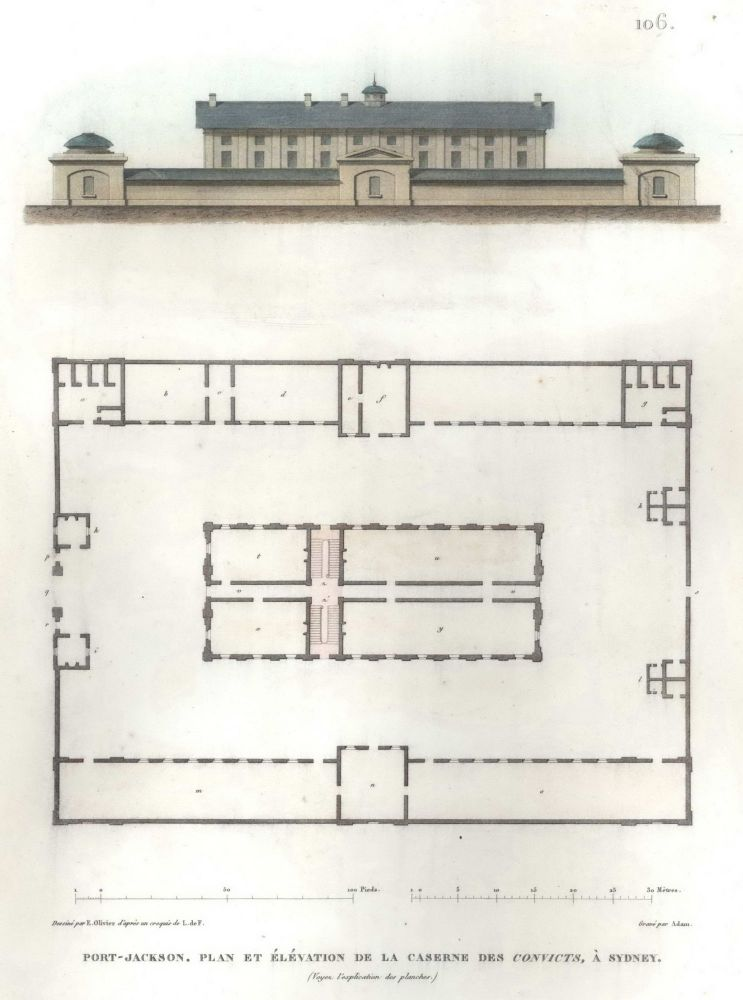 Port-Jackson. Plan Et Elevation De La Caserne Des Convicts, À Sydney [Hyde Park Barracks]. After Louis de Freycinet, French.