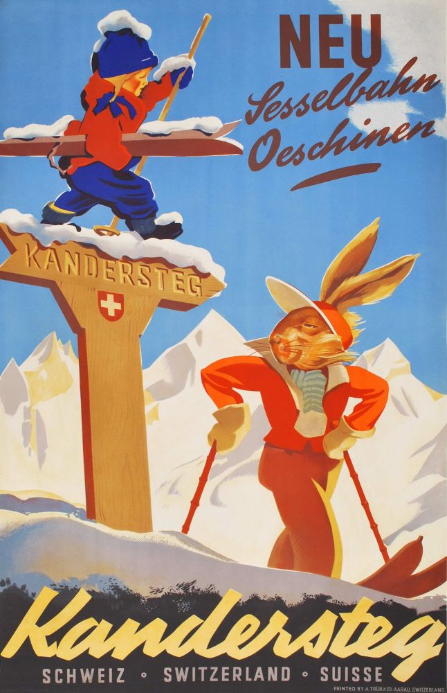 Kandersteg [Skiing, Switzerland]. Willy Trapp, Swiss.