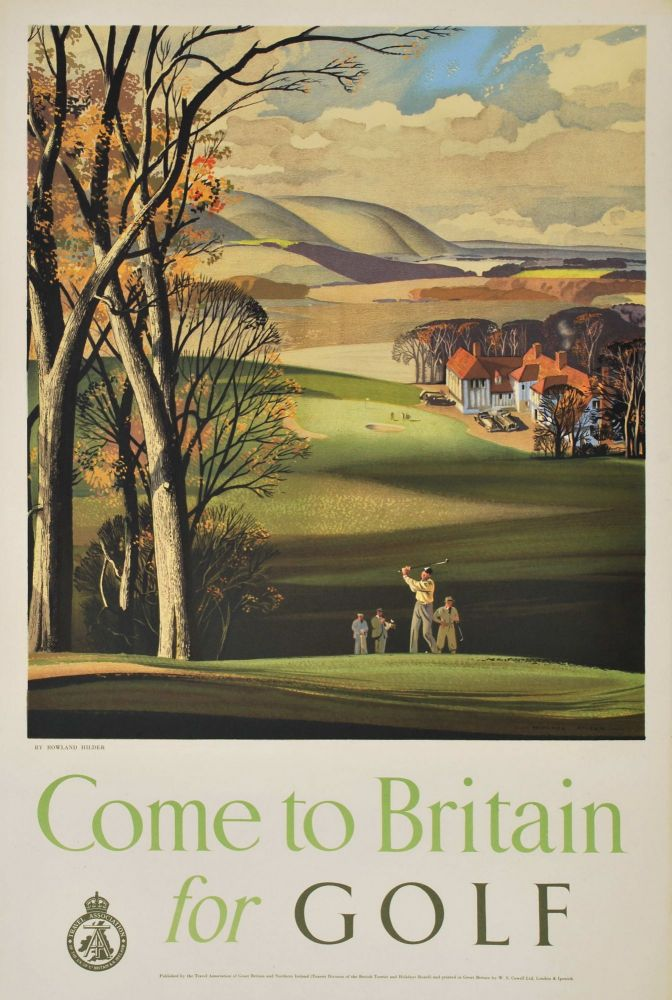 Come To Britain For Golf. Rowland Hilder, 1905–1993 Brit.