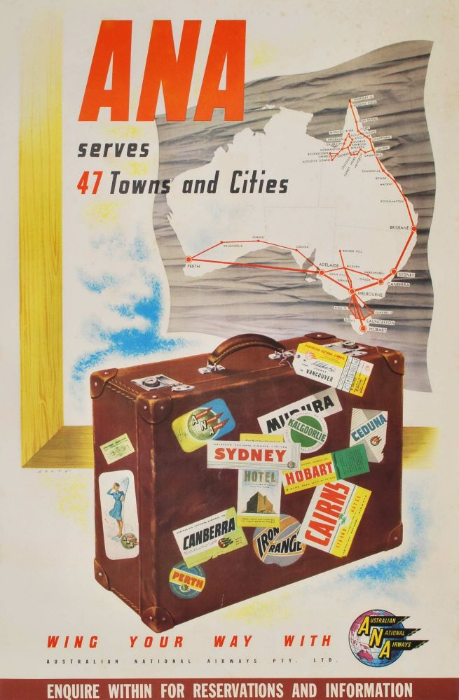 ANA Serves 47 Towns And Cities. Ronald Clayton Skate, 1913–1990 Aust.
