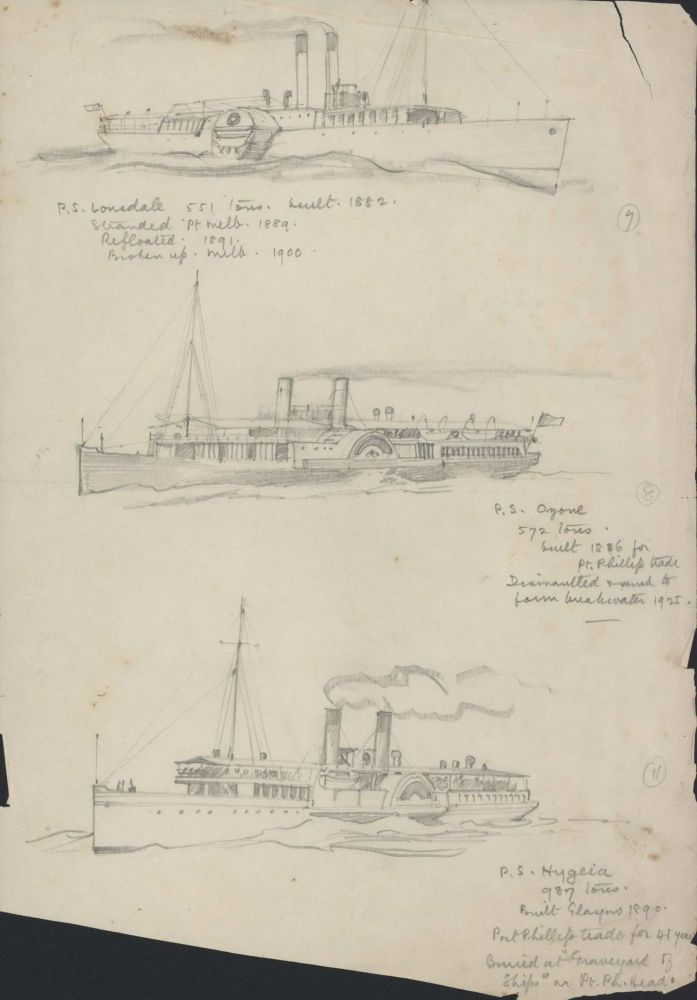 [Three Paddle Steamers]. Robert Emerson Curtis, 1898–1996 Aust.