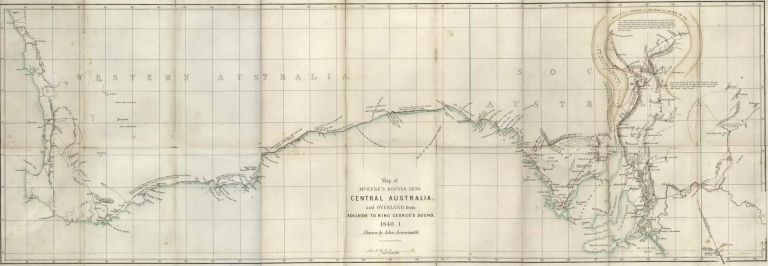 Map Of Mr Eyre's Routes Into Central Australia