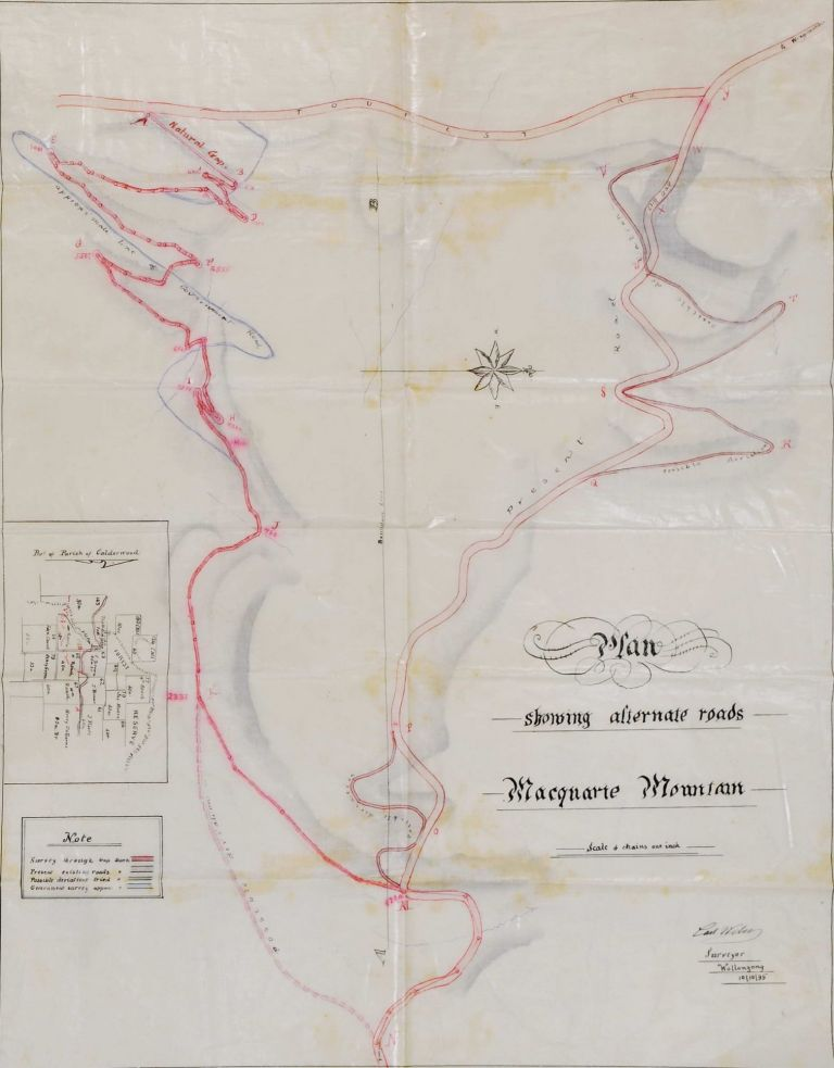 Plan Showing Alternate Roads, Macquarie Mountain [South Coast, NSW]
