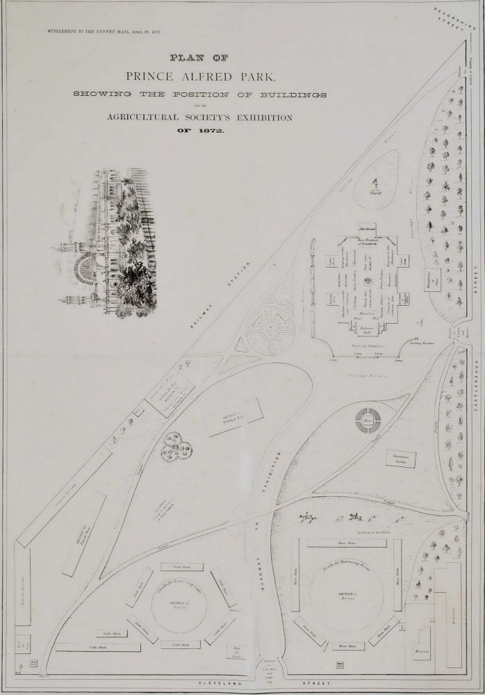 Plan Of Prince Alfred Park Showing The Position Of Buildings For The Agricultural Society's Exhibition