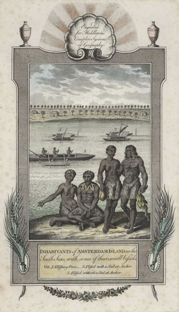 Inhabitants Of Amsterdam-Island In The South Seas With Some Of Their Small Vessels [Tonga]