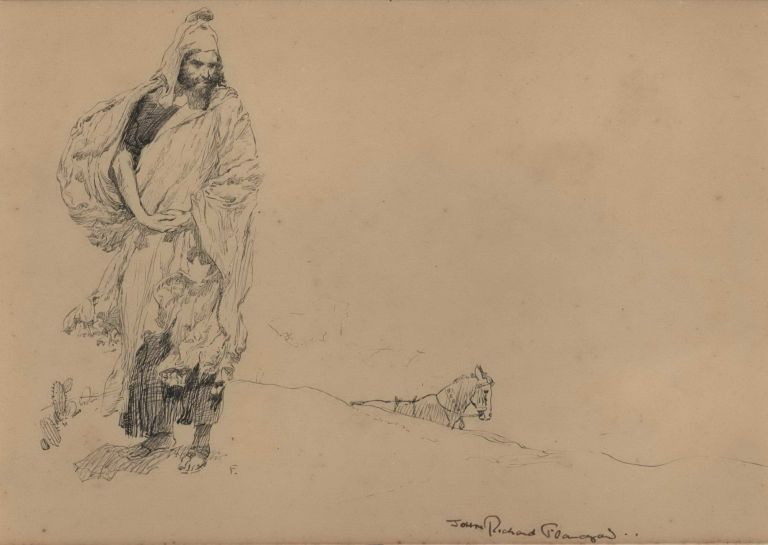 [Desert Wanderer With Horse In Wait]. John Richard Flanagan, 1895– 1964 Aust.