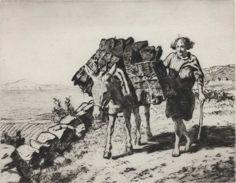 A Peat Gatherer, Connemarra (Bringing In The Turf, Malranny, West Ireland). Lionel Lindsay, 1874–1961 Aust.