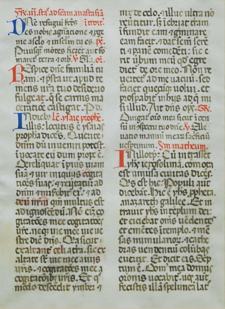 Book Of Hours Manuscript Page (Large Script)