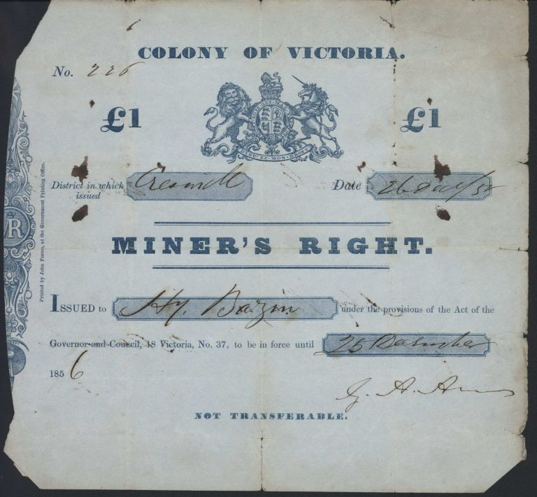 Colony Of Victoria Miner's Right [Gold Mining]