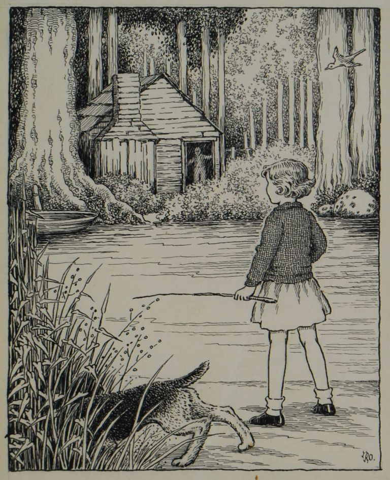 [Young Girl With Dog By A River]. Ida Rentoul Outhwaite, 1888– 1960 Aust.