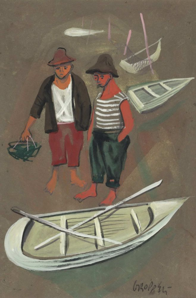 [Two Fishermen With Rowboats]. William Gropper, 1897–1977 Amer.