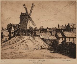 Windmill, Bruges, Belgium. Sir John William Ashton, Brit./Aust