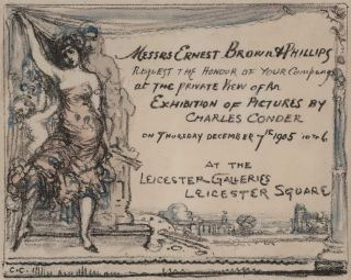 [Exhibition Invitation, Leicester Galleries, London]. Charles Conder, Aust.