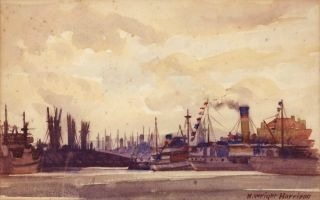 Ships On Harbour, Adelaide]. H. Wright Harrison, active 1930s Australian