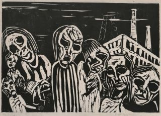 Figures In Front Of Factory Building]. Karl Opfermann, German