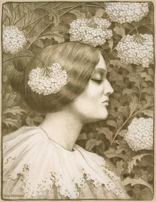 Female Profile With Flowers]. Paul Berthon, French