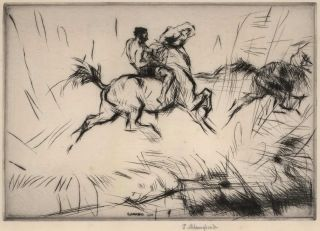 Horse And Rider Splashing Through The Surf]. Edmund Blampied, British