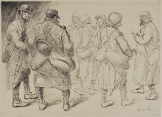A Gathering Of Soldiers]. Alexandre Théophile Steinlen, French