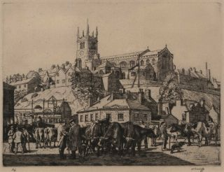 Cattle Fair, Maedesfield. Charles Frederick Tunnicliffe, British.