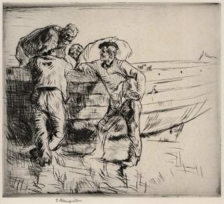 Normandy Fisherman. Edmund Blampied, British