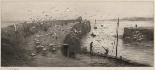 [Seaside Landscape With Fishermen And Gulls]. W L. Wyllie, British.