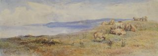 Manx Coast Near Peel, and [Pastoral Landscape With Sheep]. Harry E. Hime, 1863-c1933 Brit