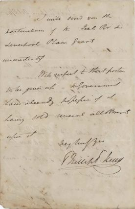 Letter Regarding The Australian Agricultural Company (AAC). Phillip Parker King, Aust