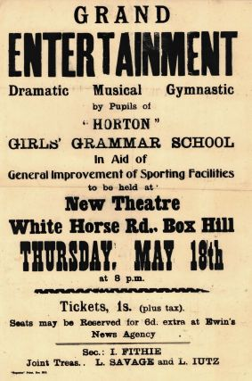 "Grand Entertainment, Dramatic, Musical, Gymnastic, By Pupils Of ""Horton"" Girls' Grammar School"