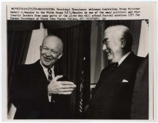 Two Press Photographs Concerning PM Robert Menzies Meeting Heads Of State