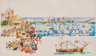 Australian Bicentenary Celebrations, Showing Sydney Harbour, People Wearing Traditional Dress,...