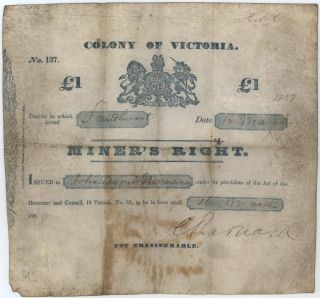 Miner's Right. One Pound. Colony Of Victoria, Issued At Sandhurst [Bendigo