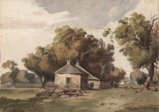 Old Houses In Richmond Paddock. Attrib. Louis Buvelot, Swiss/Aust