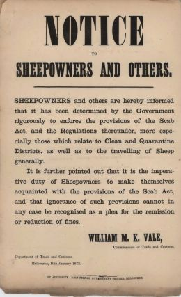 Notice To Sheepowners [Sic] And Others
