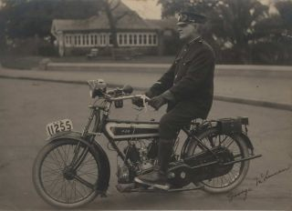 George McLennan, First NSW Police Motor Cyclist, [On AJS Motorcycle. Outside Art Gallery Of New...