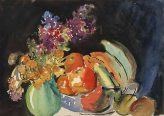 Flowers And Fruit. Miles Evergood, Australian