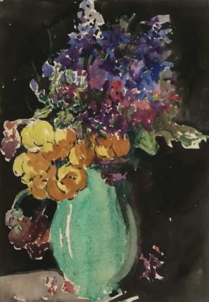 Flowers In Green Vase. Miles Evergood, Australian