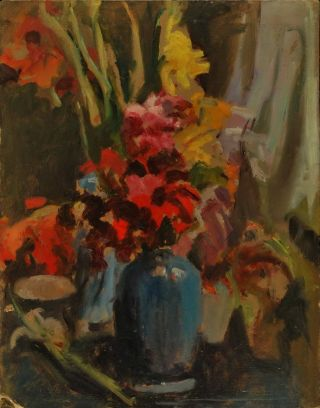 Gladioli [In Blue Vase]. Miles Evergood, Australian