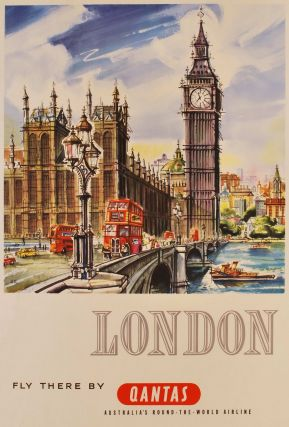 London. Fly There By Qantas. Harry Rogers, Australian