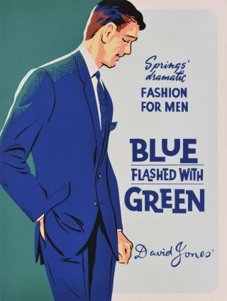 Springs' Dramatic Fashion For Men: Blue Flashed With Green. David Jones'