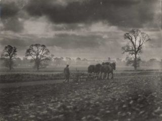 Man And Horses Ploughing A Field]. E O. Hoppé, Brit