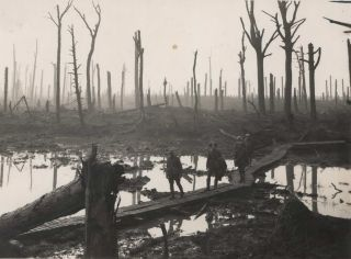 Australians Passing Along A Duck-Board Track, Chateau Wood, Ypres Salient In Belgium. Frank...